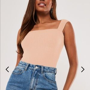 Missguided blush rib square neck cropped top